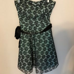 Strapless teal and black lace dress